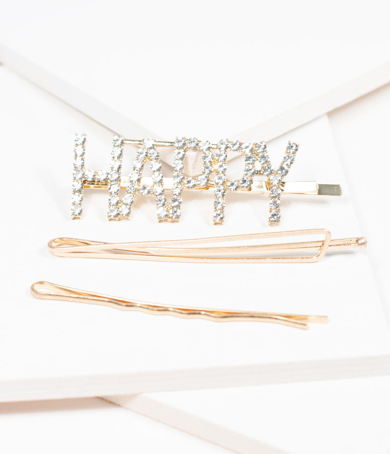 Gold Happy Rhinestone Hair Pin Set
