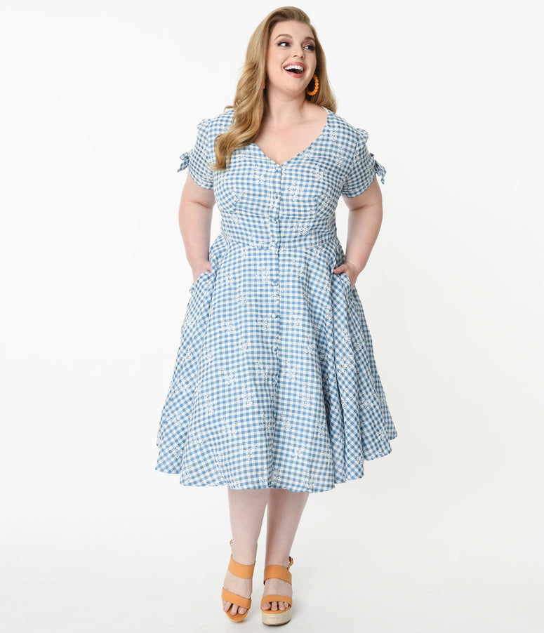 Magnolia Place Plus Size 1950s Blue Gingham Eyelet Eleanor Swing Dress