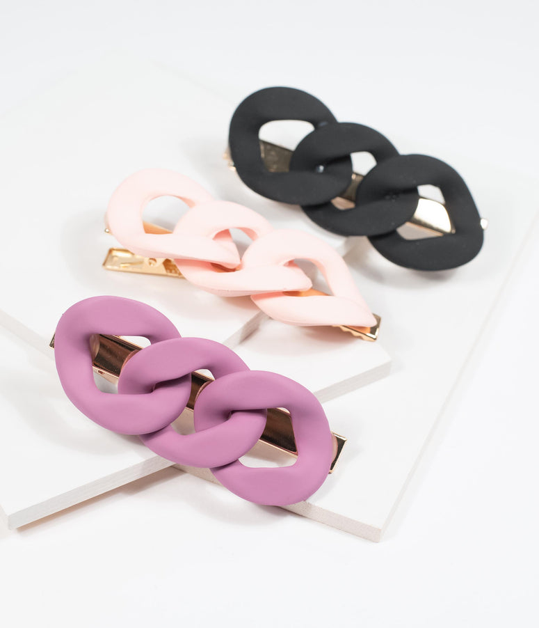 Matte Chain Link Hair Clip Set