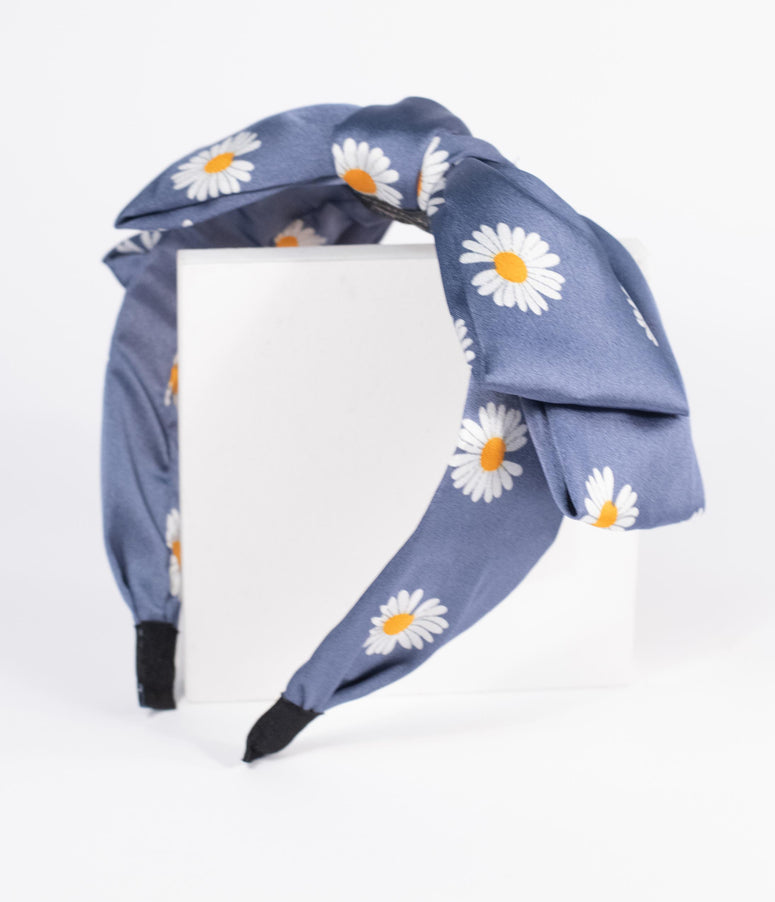 Blue Daisy Bow Headband