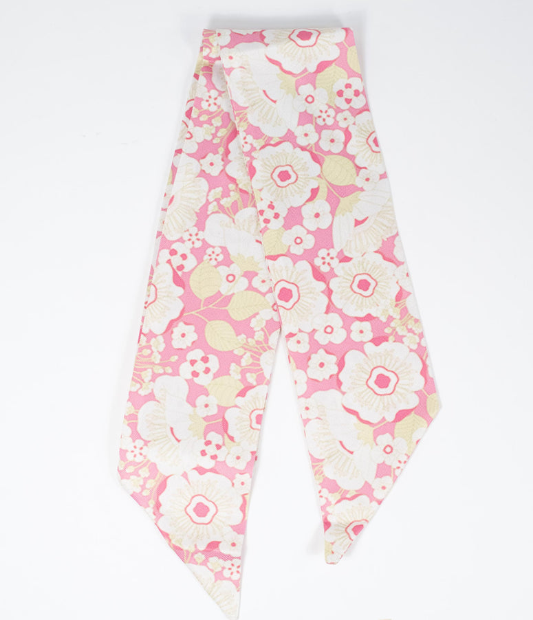 Pink & White Floral Mod Hair Scarf
