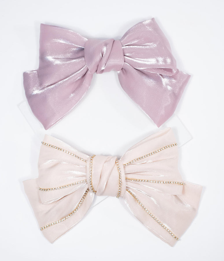Shimmer Fabric Bow Hair Clip Set