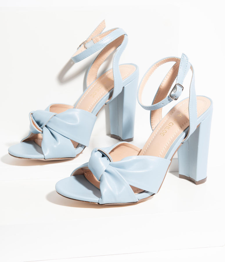 Light Blue Leatherette Knotted Bow Peep Toe Heels