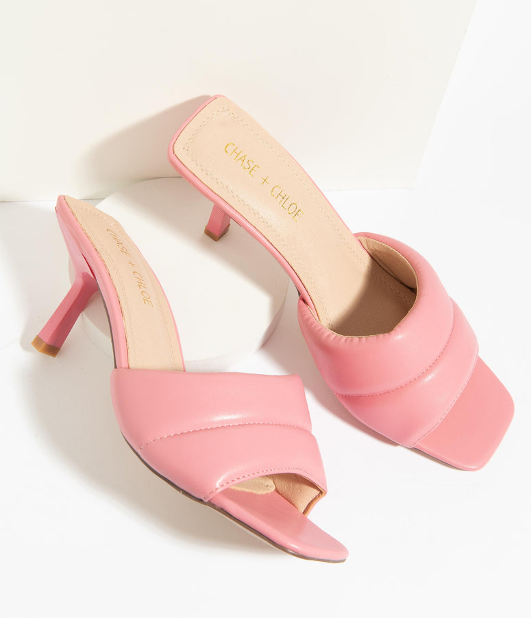 Retro Pink Plush Leatherette Mule