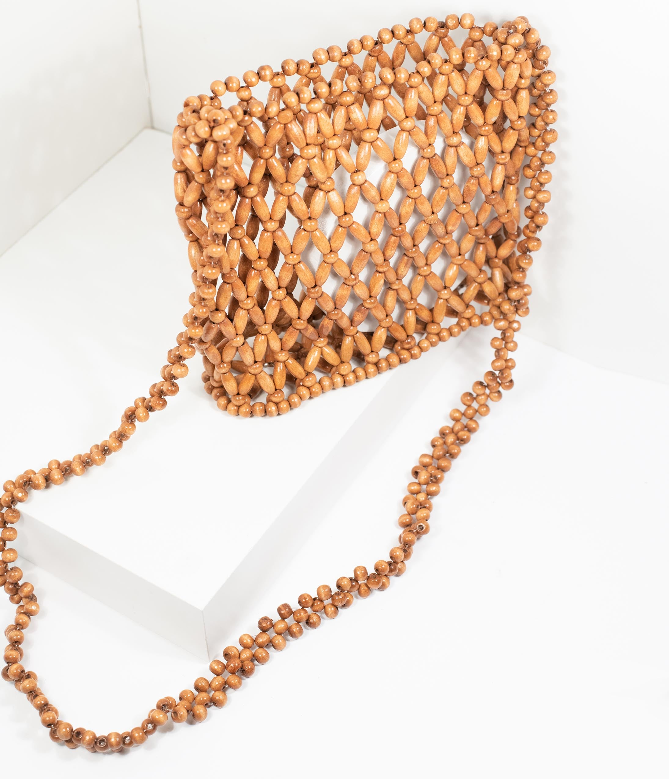70s Fashion   What Did Women Wear in the 1970s? 1970S Style Brown Beaded Crossbody Purse $56.00 AT vintagedancer.com