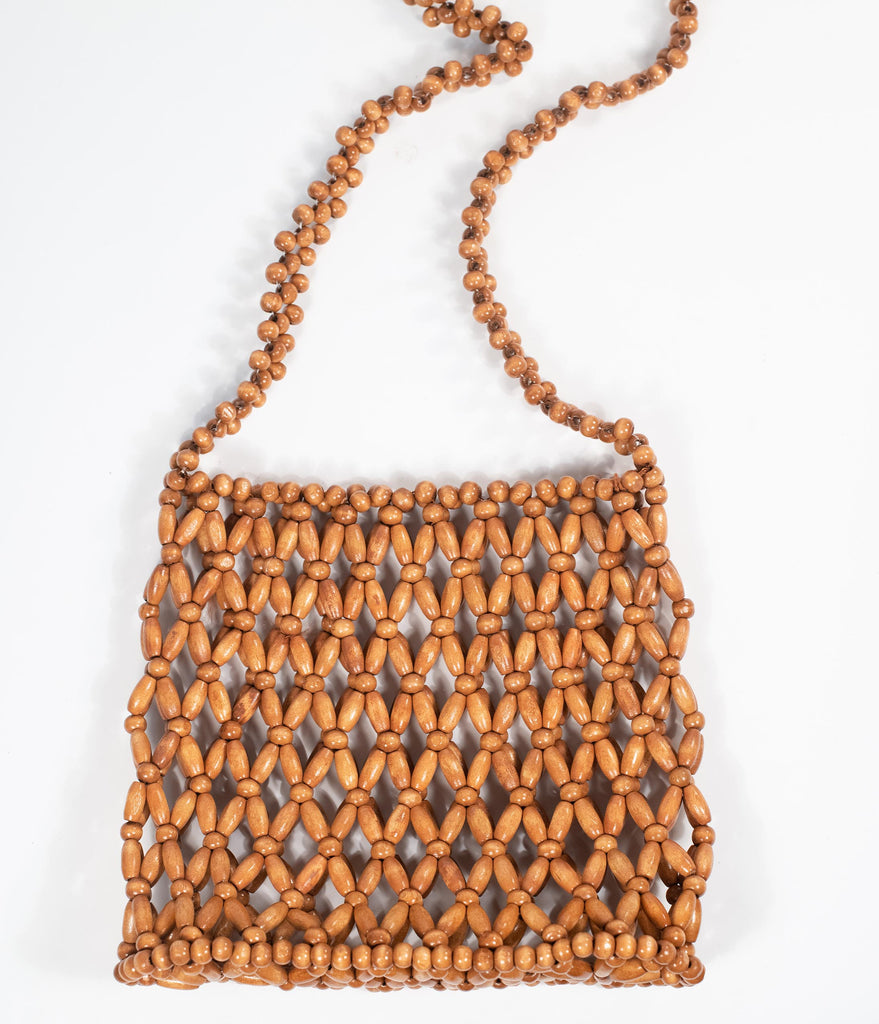 1970s Style Brown Beaded Crossbody Purse