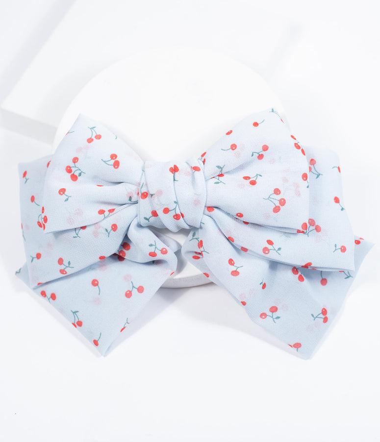 Light Blue & Cherry Print Bow Hair Clip