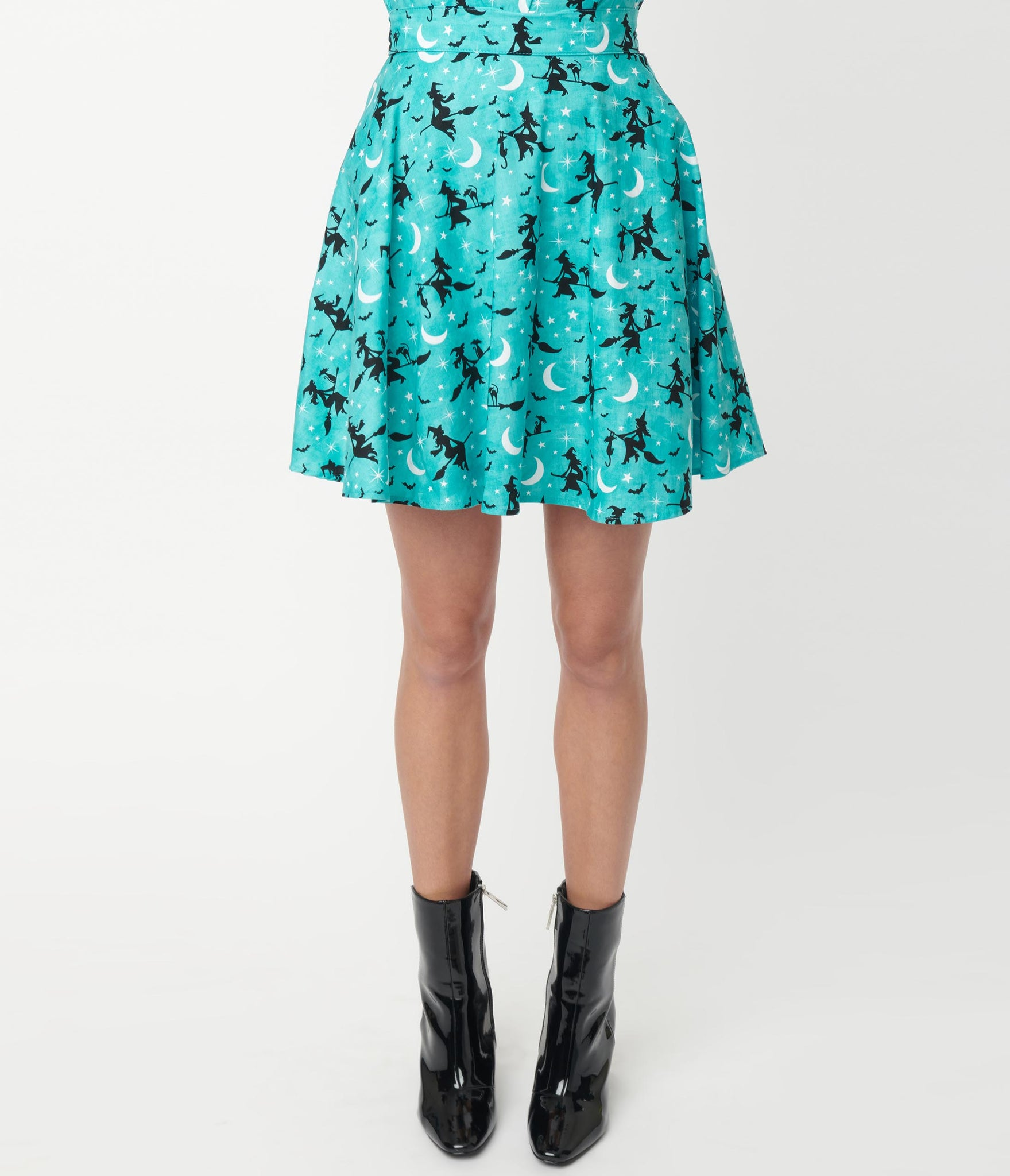 Retrolicious Turquoise Witchy Print Skater Skirt