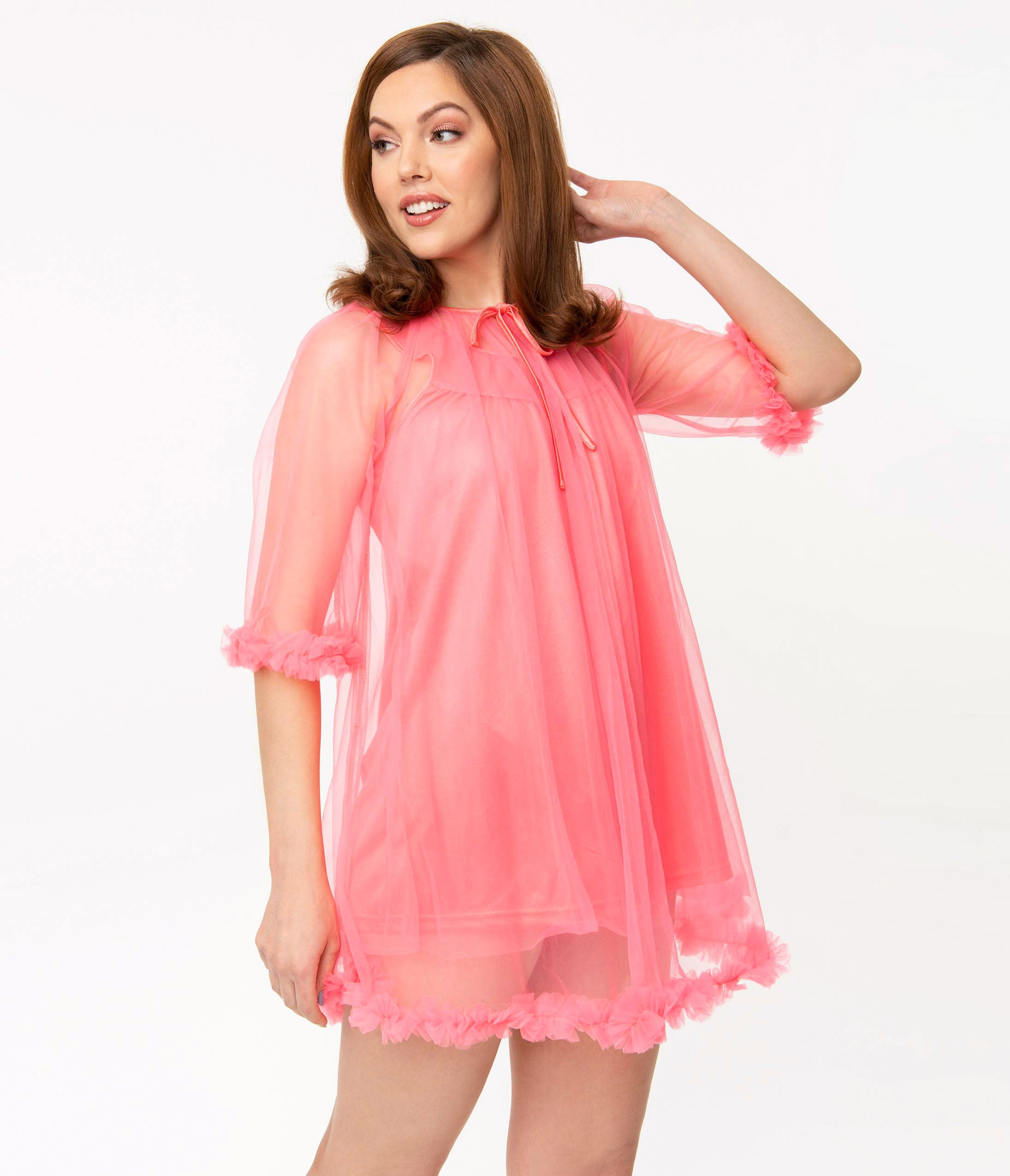 Vintage Nightgowns, Pajamas, Baby Dolls, Robes 1960S Style Neon Pink Pillow Talk Mini Nightgown Set $78.00 AT vintagedancer.com
