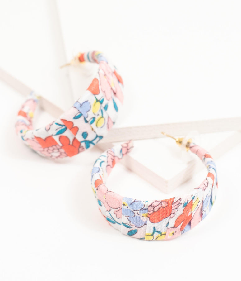 Ditsy Daisy Floral Fabric Wrap Hoop Earring