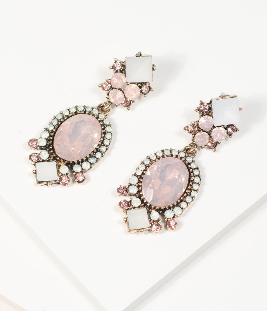 Pink & Frosted White Crystal Rhinestone Drop Earrings