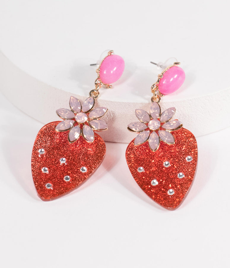 Pink Gemstone & Strawberry Drop Earrings