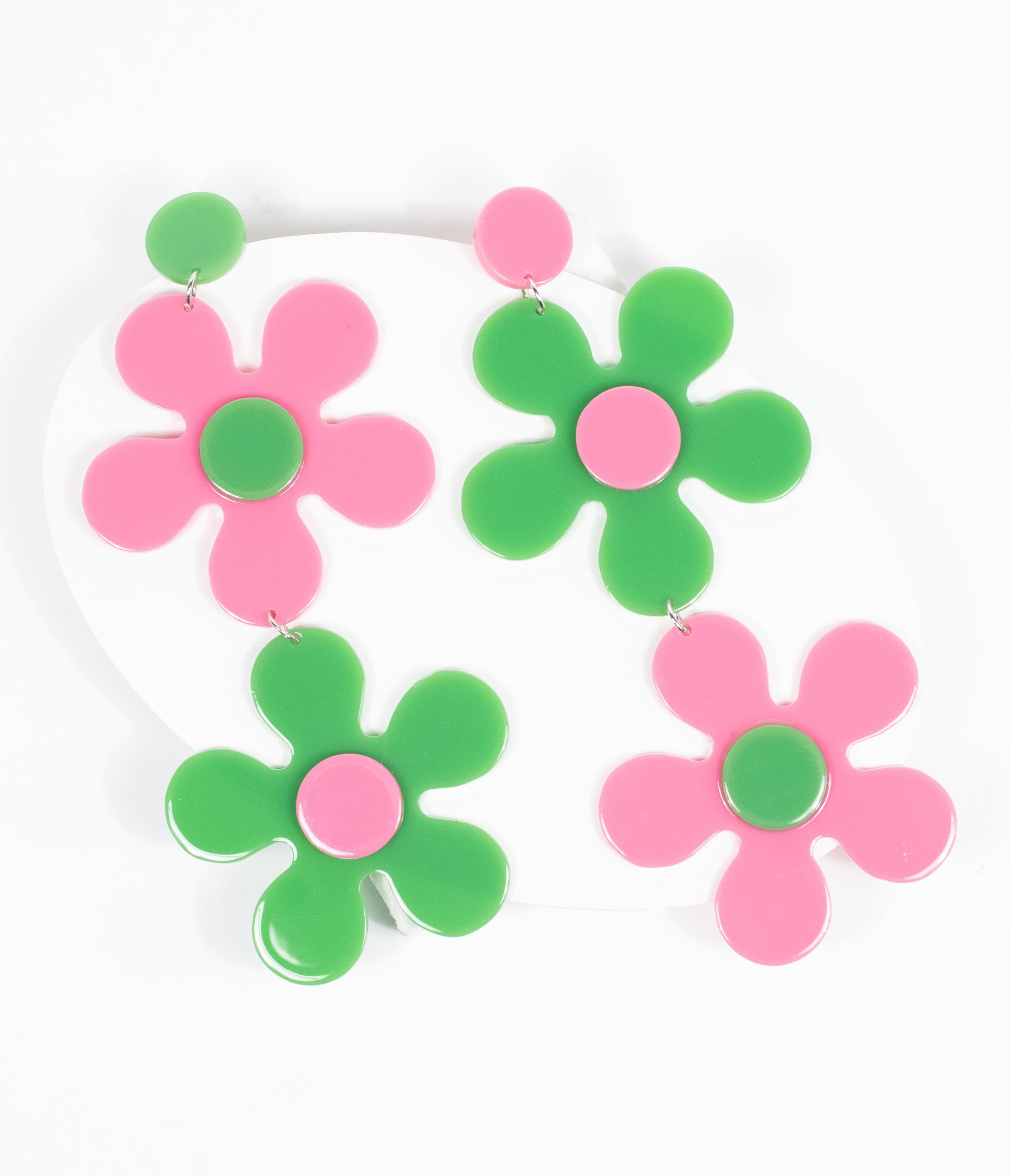 Vintage Style Jewelry, Retro Jewelry Retro Style Pink  Green Flower Power Drop Earrings $28.00 AT vintagedancer.com