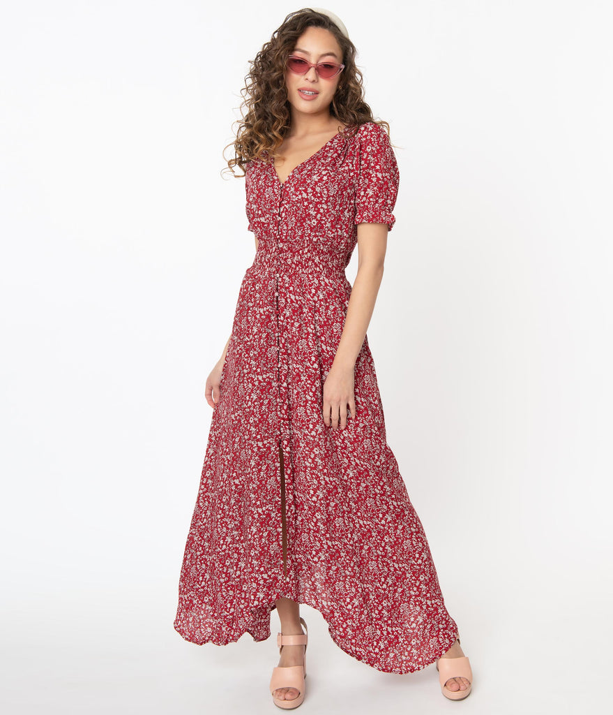 1970s Red & White Floral Maxi Dress