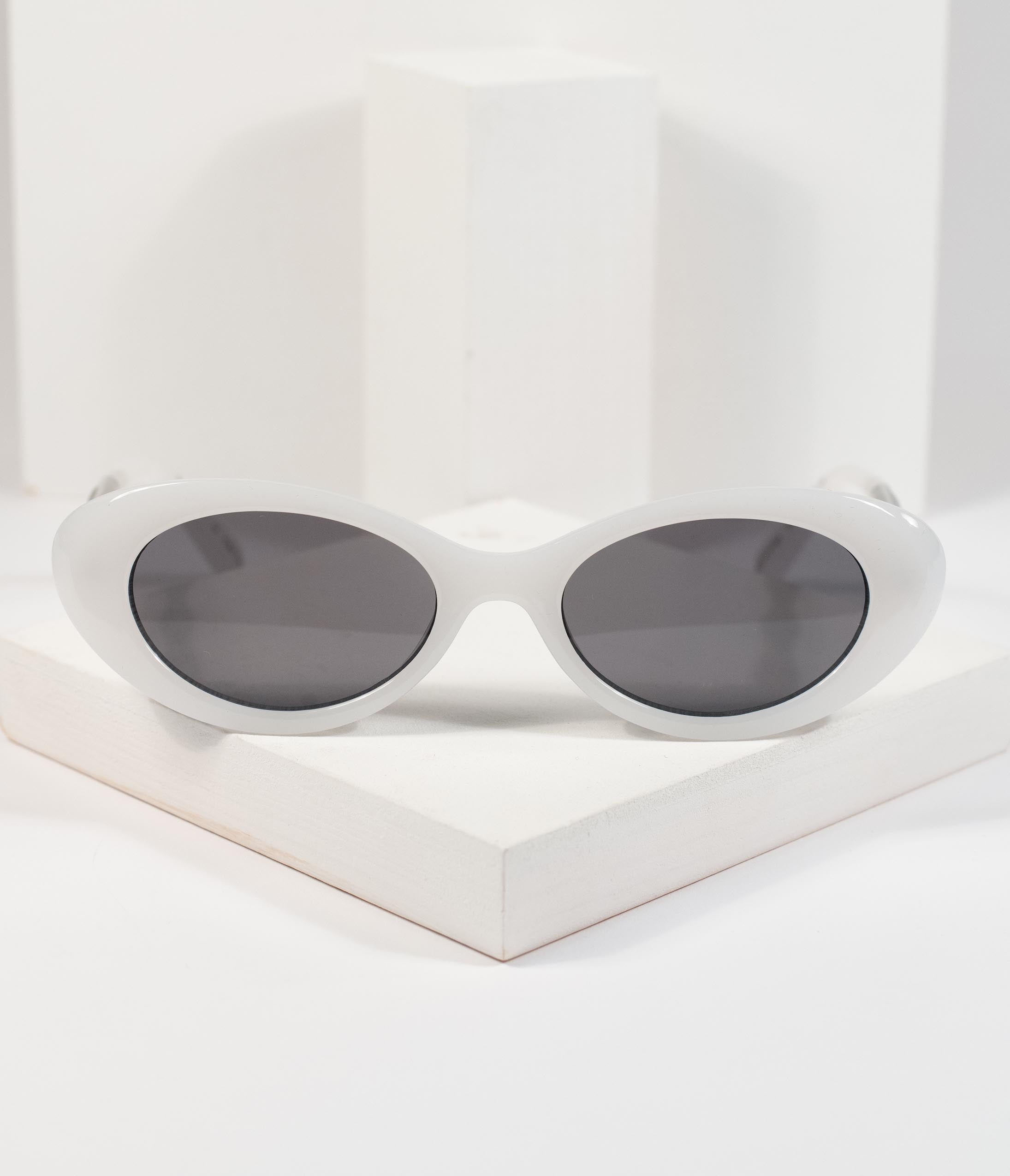 1960s Sunglasses | 70s Sunglasses, 70s Glasses Frosted White Rounded Cateye Pretty Tat Sunglasses $26.00 AT vintagedancer.com