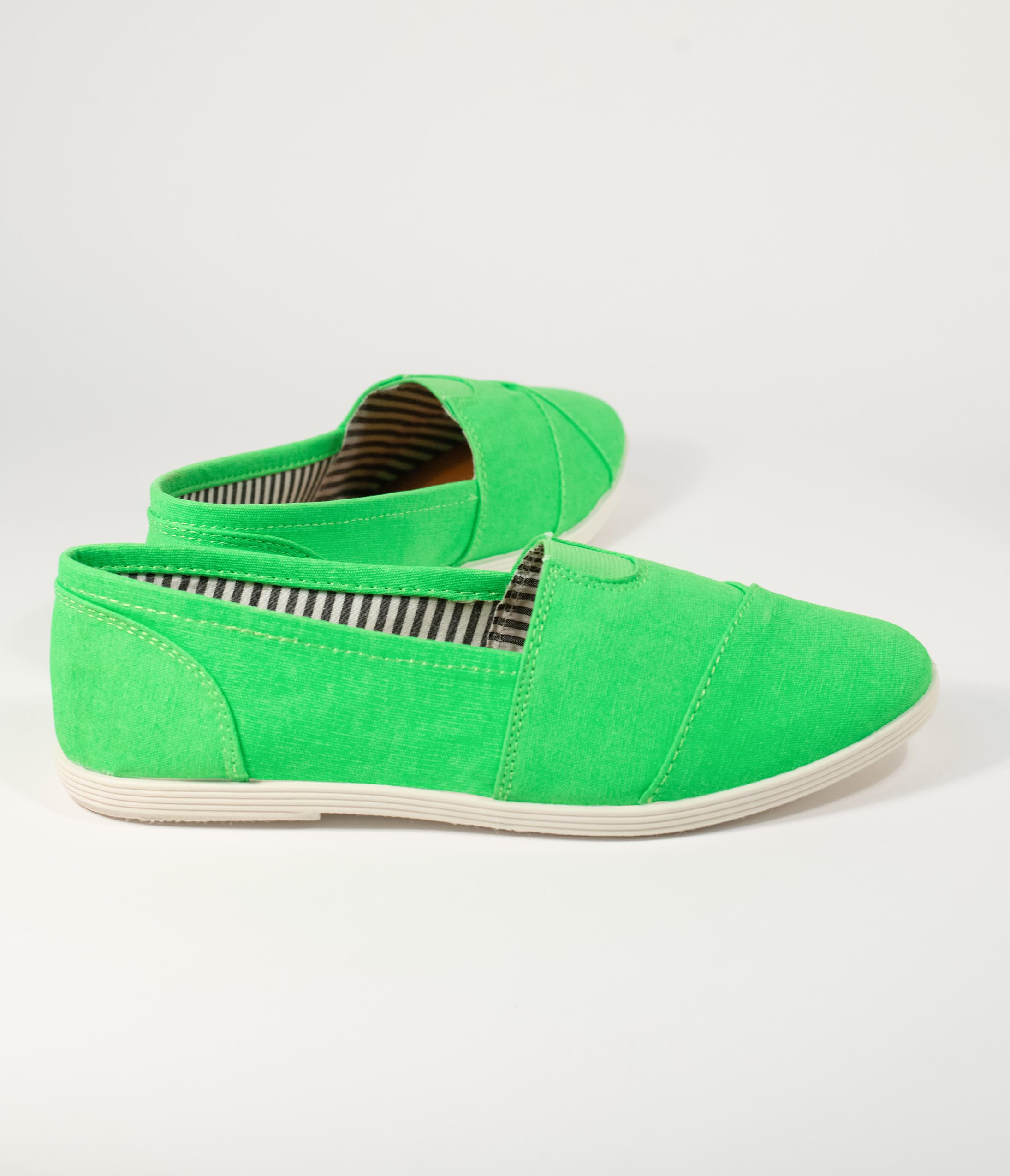 80s Shoes, Sneakers, Jelly flats Bright Green Canvas Casual Loafer Flats $32.00 AT vintagedancer.com