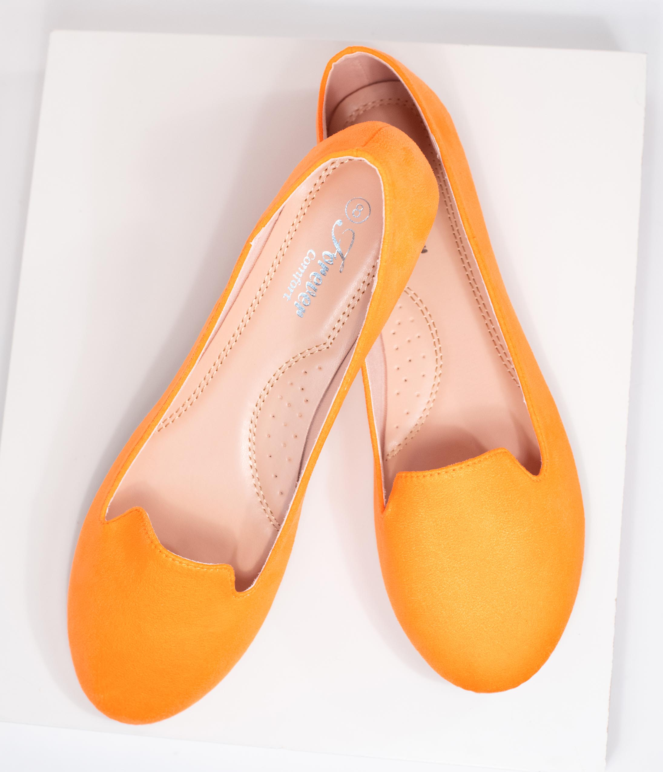 1980s Clothing, Fashion | 80s Style Clothes Neon Orange Suede Loafers $42.00 AT vintagedancer.com