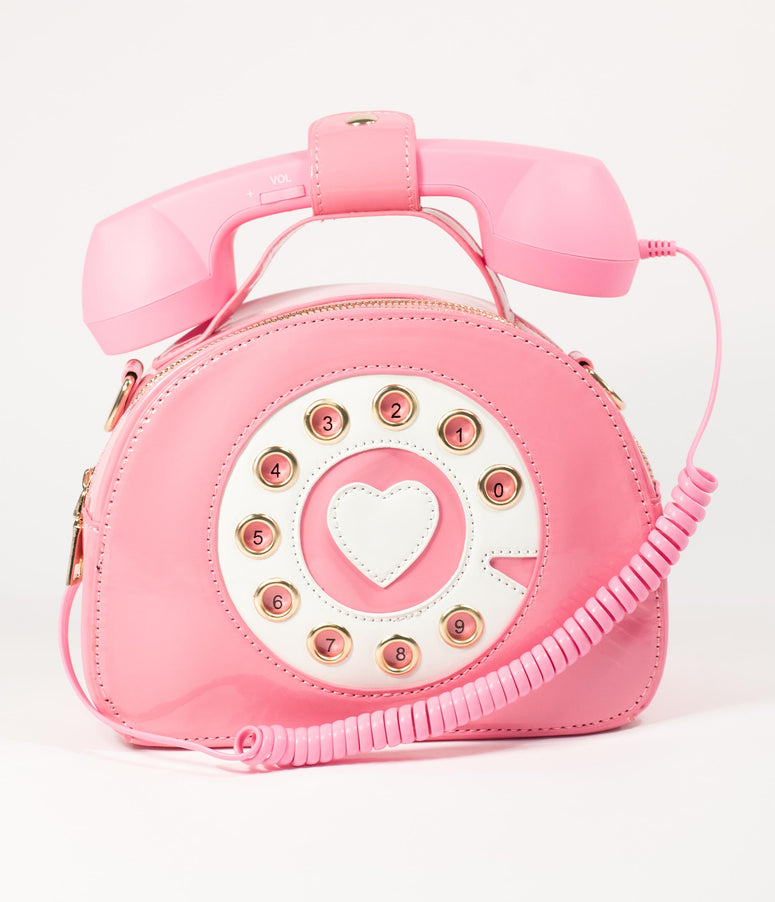 Pink Leatherette Retro Rotary Telephone Purse