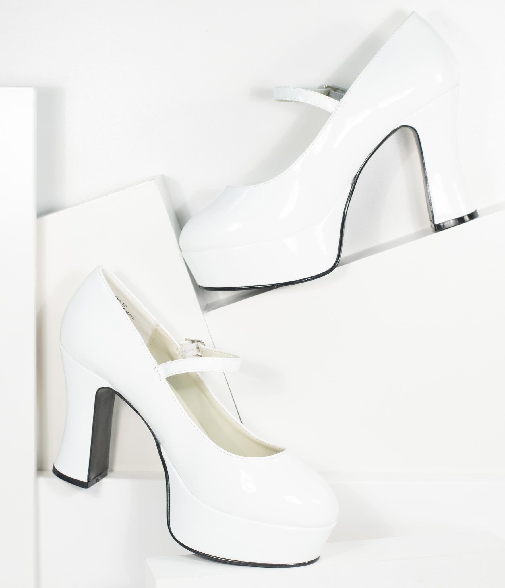 960s White Patent Leatherette Mary Jane Platform Heels