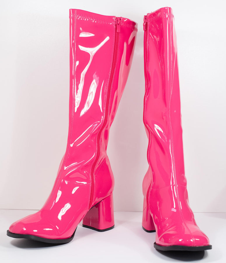 Hot Pink Patent Leatherette Knee High Go Go Boots