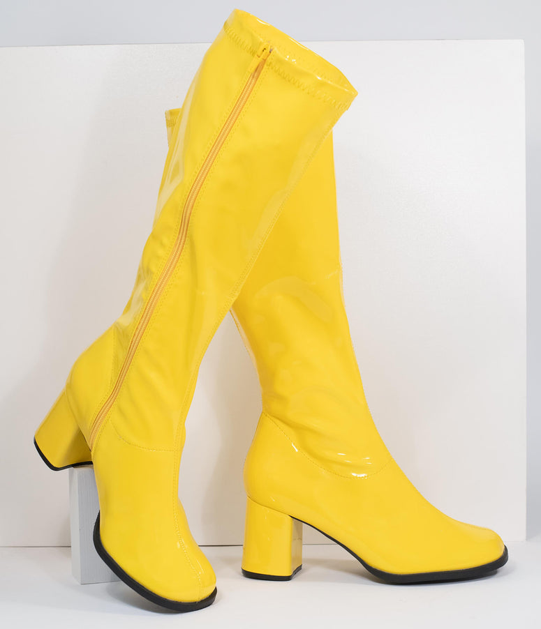 Neon Yellow Patent Leatherette Knee High Go Go Boots