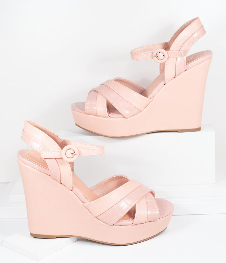 Blush Pink Crocodile Embossed Cross Wedge Sandals