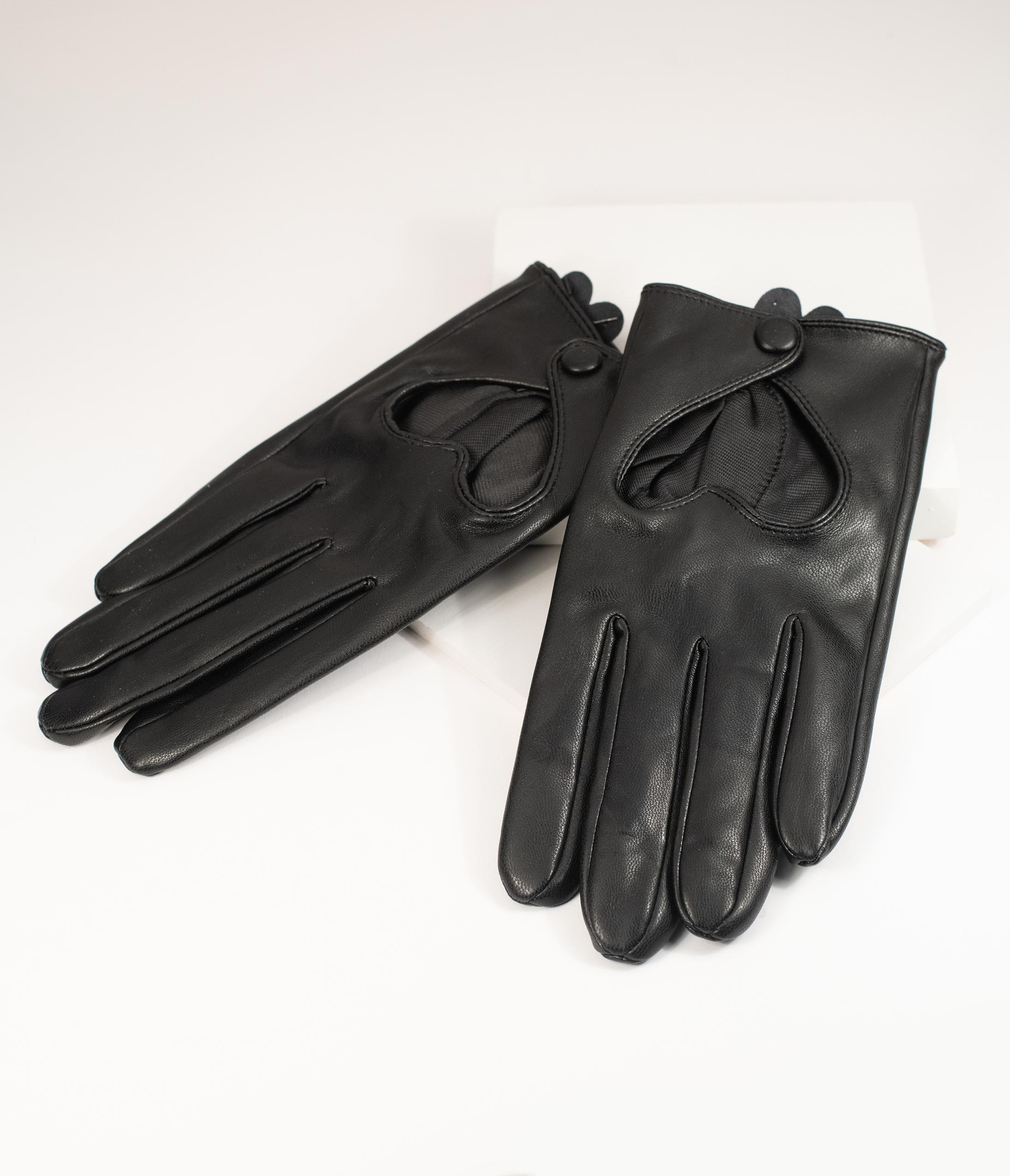 Vintage Style Gloves- Long, Wrist, Evening, Day, Leather, Lace Black Leatherette Heart Cutout Gloves $26.00 AT vintagedancer.com