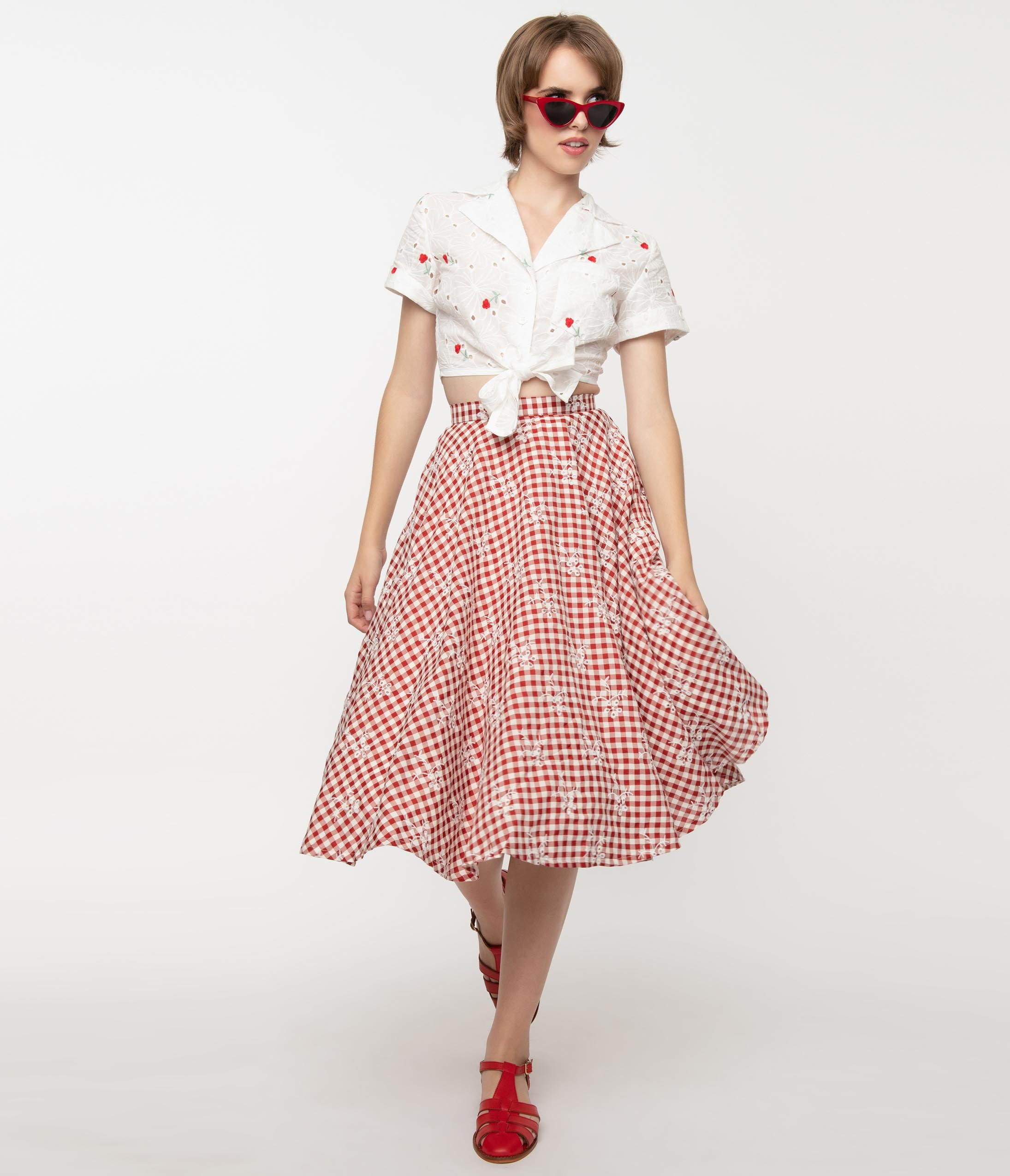 1940s Style Skirts- Vintage High Waisted Skirts Magnolia Place Red Gingham  Floral Eyelet Sally Swing Skirt $58.00 AT vintagedancer.com