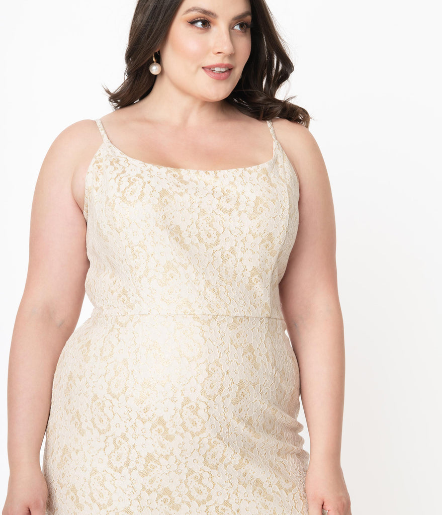 Plus Size 1960s Champagne Sparkle Lace Jayne Pencil Dress