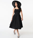 1950s Black Sleeveless Peggy Swing Dress