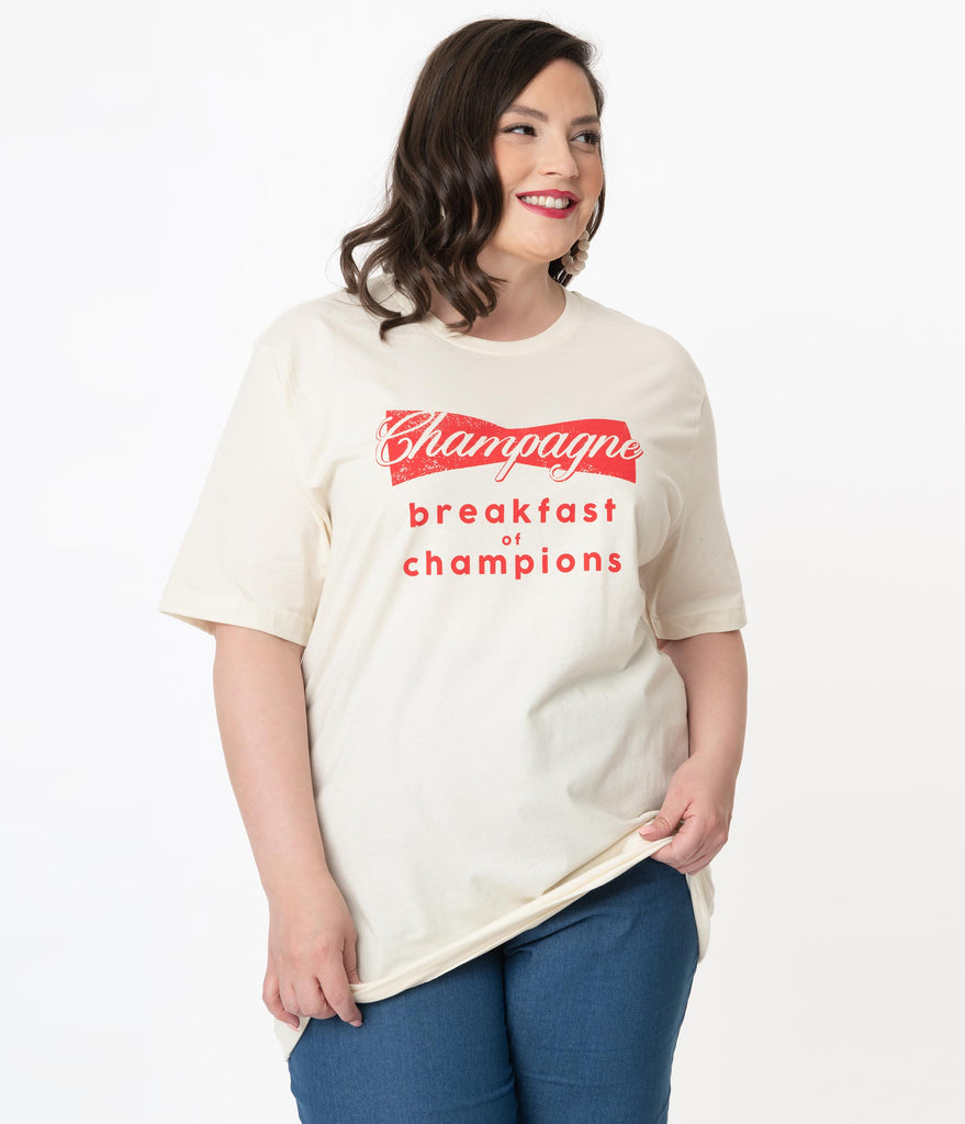 Plus Size Champagne Breakfast Of Champions Graphic Tee