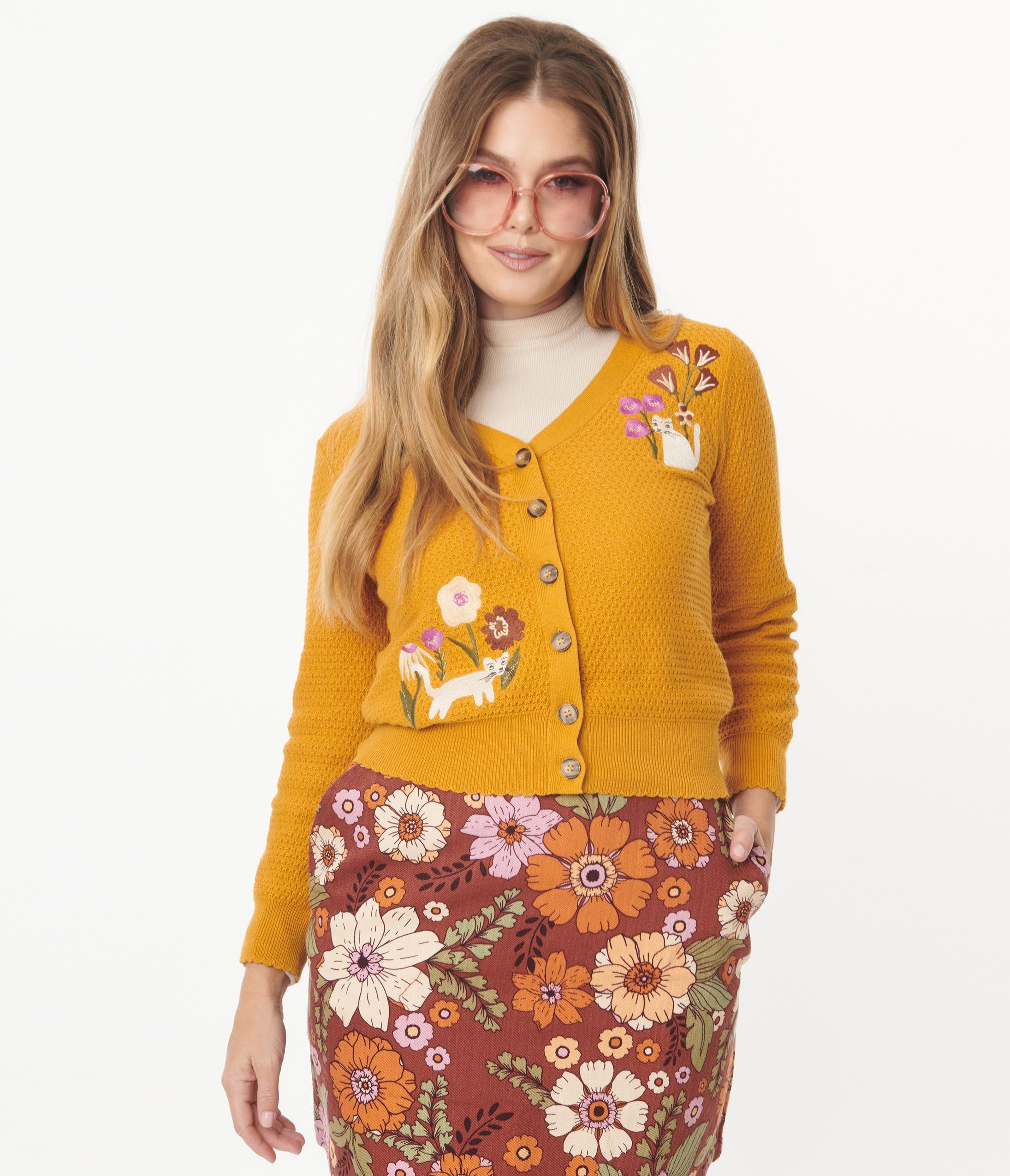 1960s Style Clothing & 60s Fashion Mustard  Floral Cat Embroidered Cardigan $82.00 AT vintagedancer.com