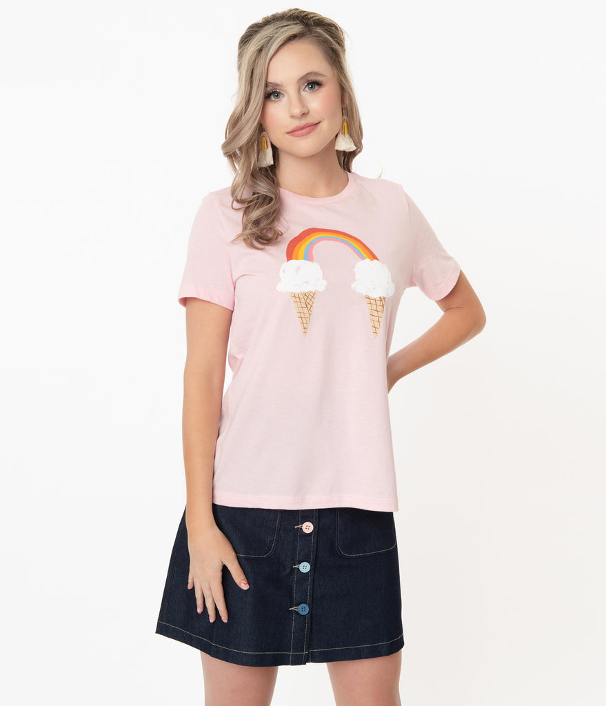Unique Vintage Rainbow Ice Cream Fitted Graphic Tee