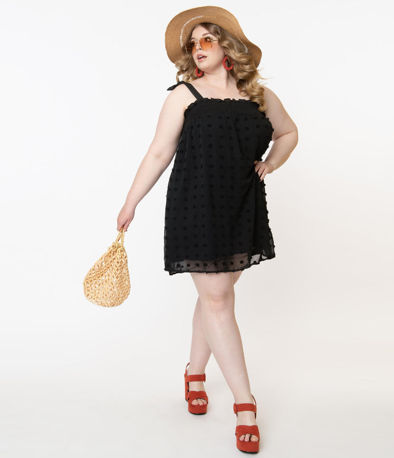Plus Size Black Clip Dot Sundress