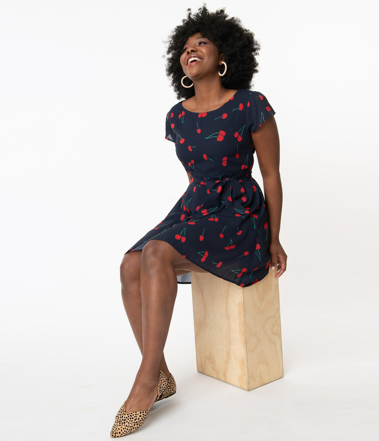 Navy & Red Cherry Print Fit & Flare Dress