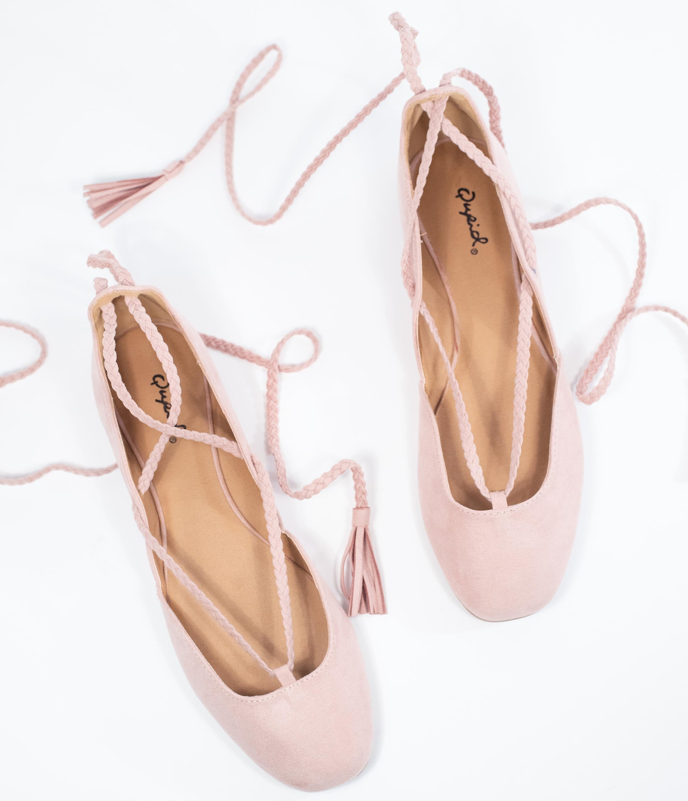 1950s Style Clothing & Fashion Blush Pink Suede Lace Up Flats $38.00 AT vintagedancer.com