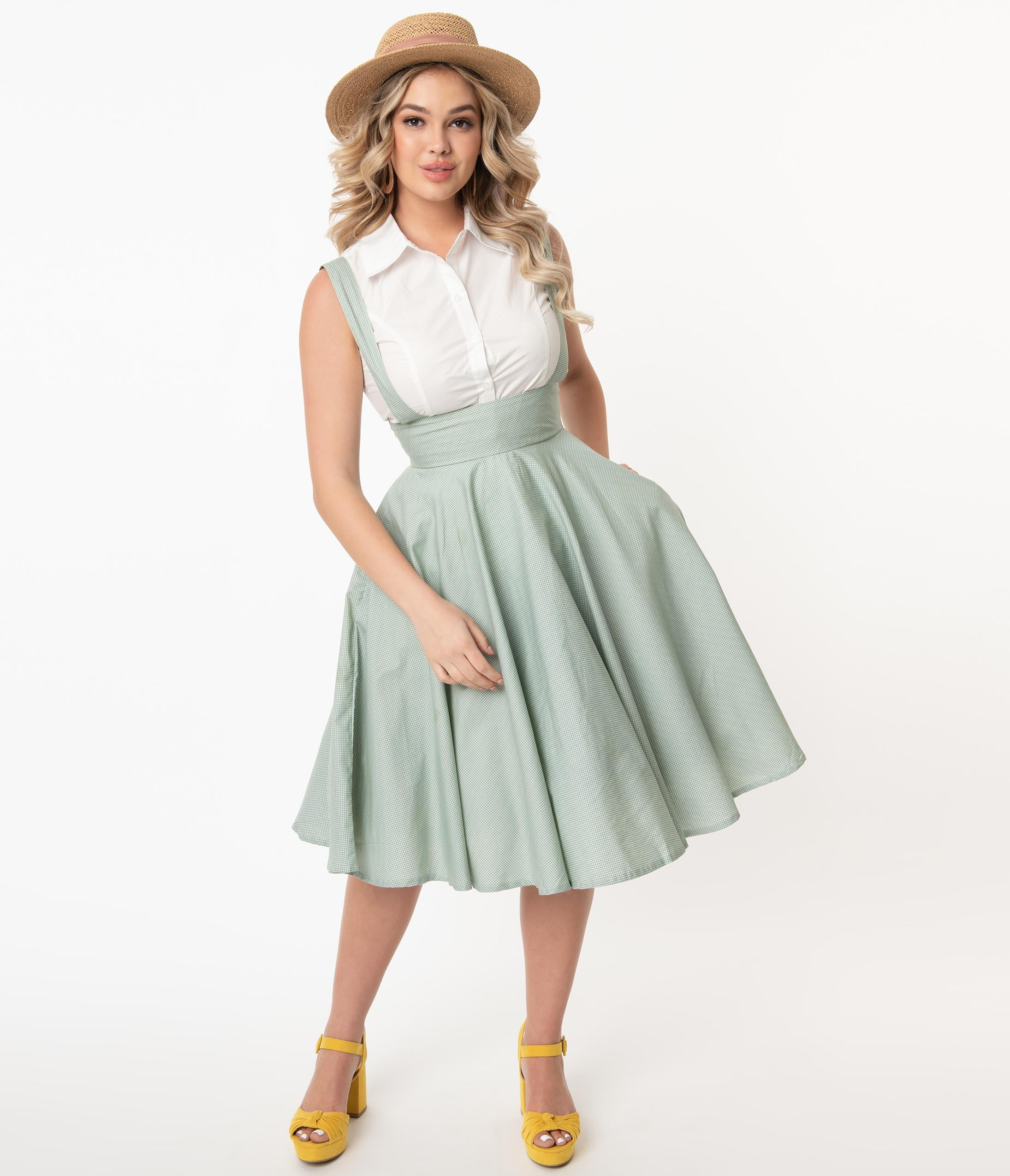 1950s Swing Skirt, Poodle Skirt, Pencil Skirts Magnolia Place Mint Gingham Abby Pinafore Skirt $58.00 AT vintagedancer.com