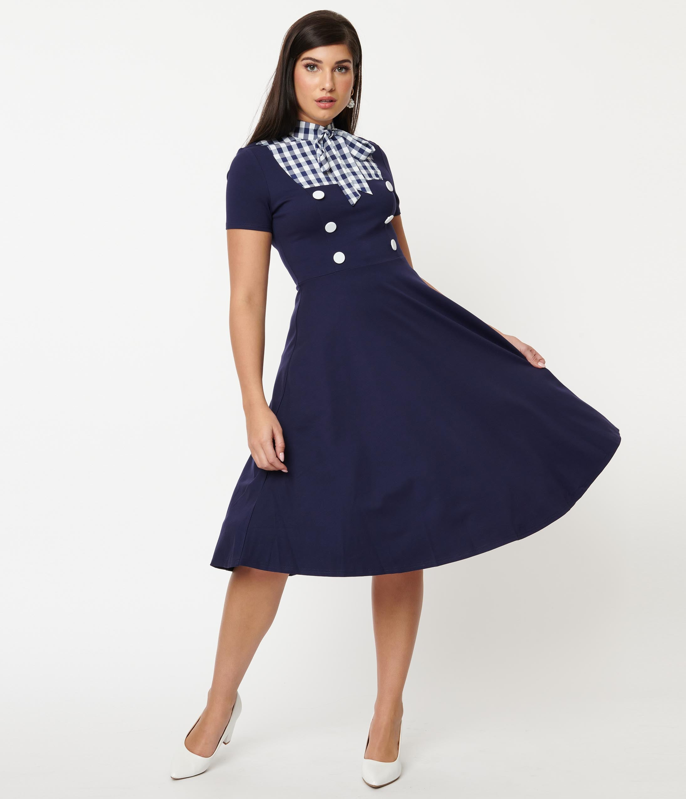 Pin Up Girl Costumes | Pin Up Costumes Magnolia Place Navy Blue  Gingham Yoke Swing Dress $88.00 AT vintagedancer.com