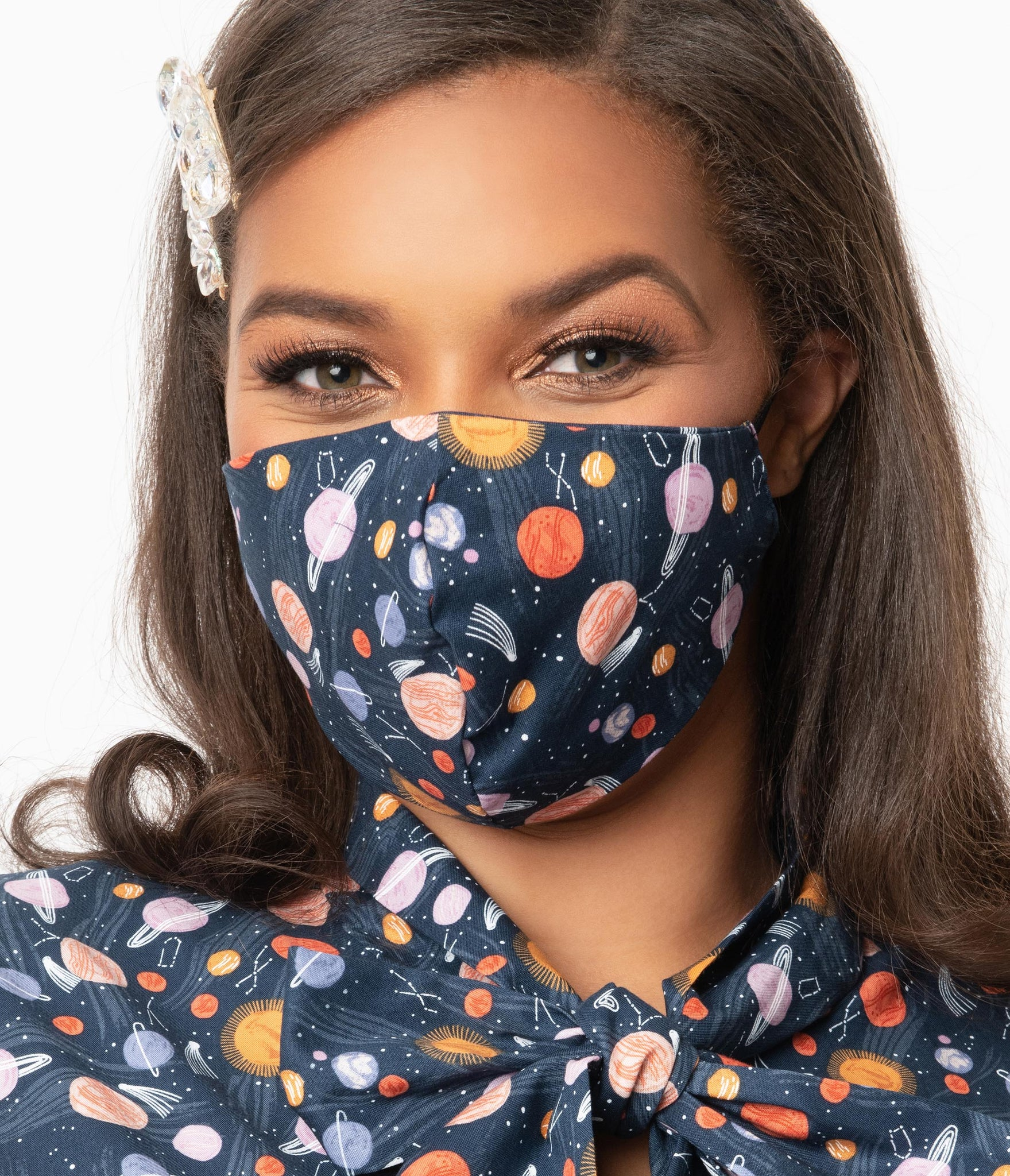 Retrolicious Space Out Print Face Mask