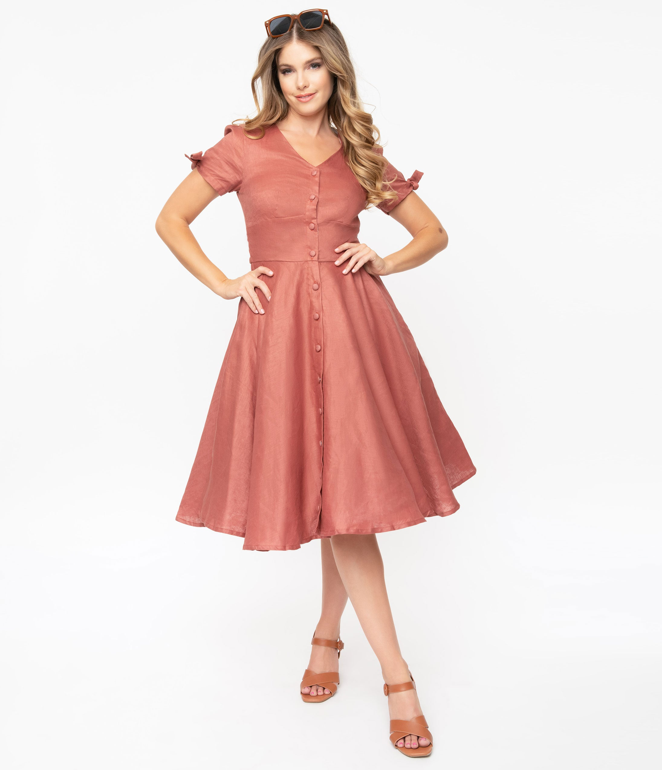 Fifties Dresses: 1950s Style Swing to Wiggle Dresses Magnolia Place Brick Red Swing Dress $98.00 AT vintagedancer.com