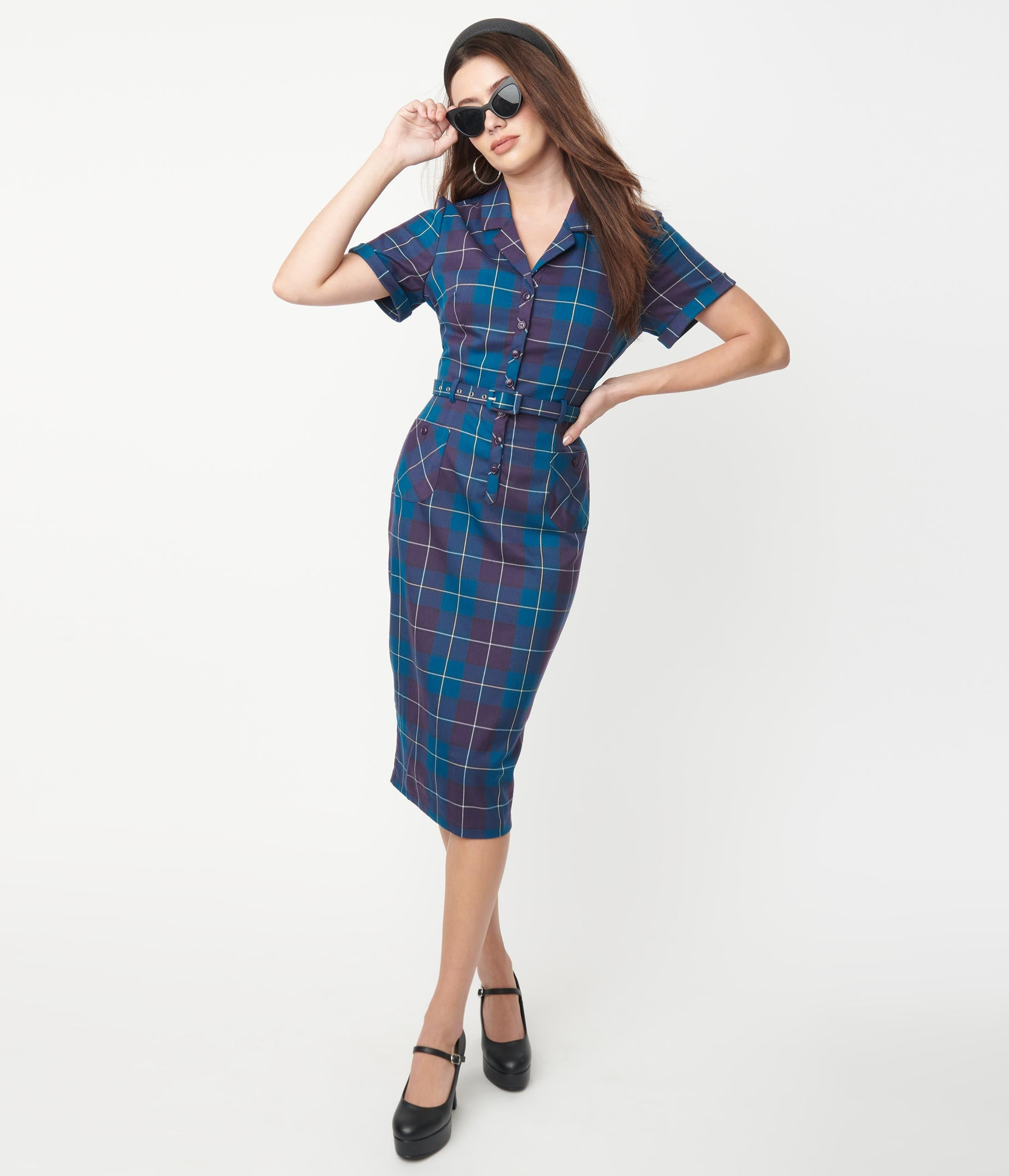 Pin Up Girl Costumes | Pin Up Costumes Collectif Teal  Purple Plaid Caterina Pencil Dress $82.00 AT vintagedancer.com