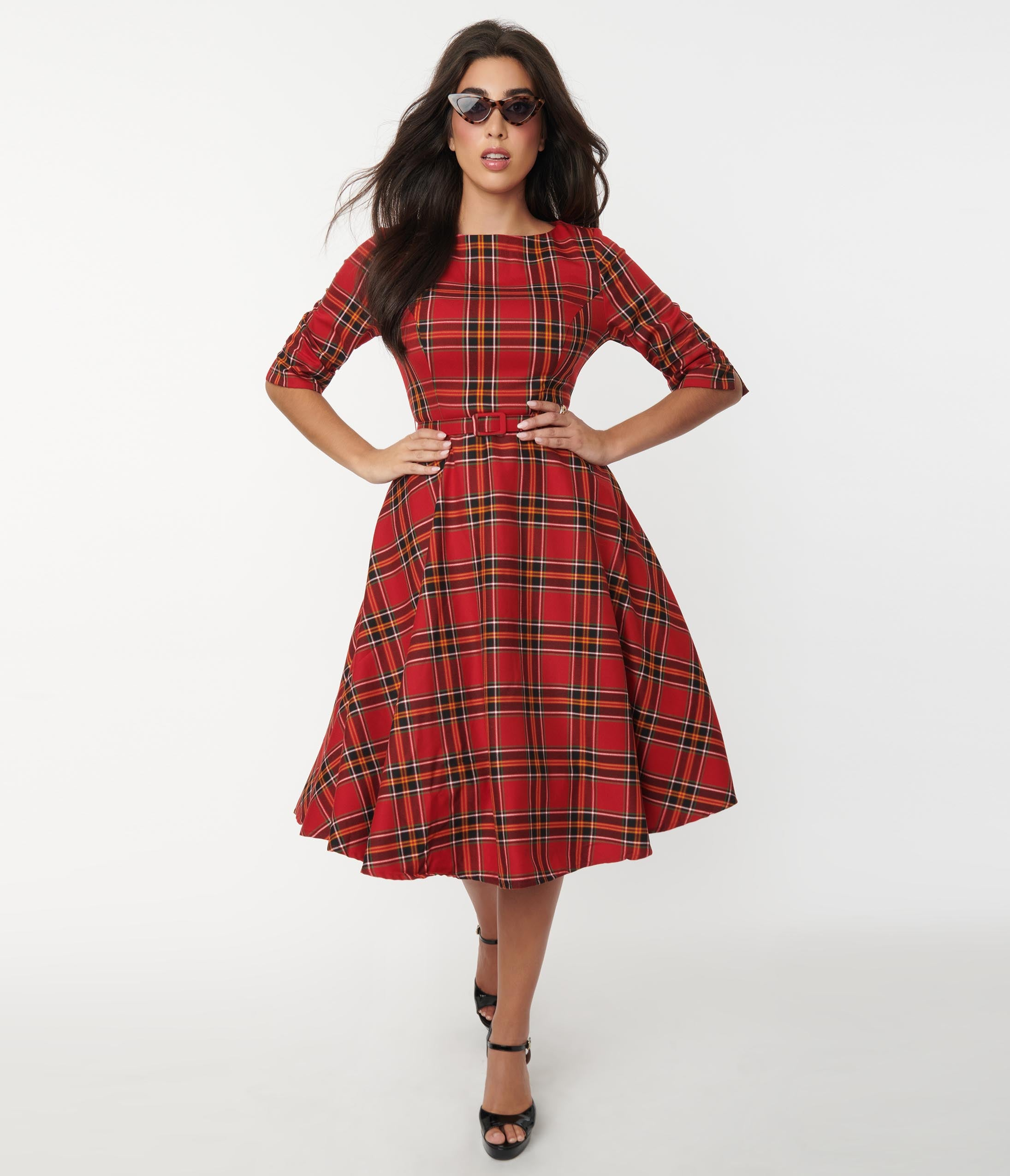 Pin Up Girl Costumes | Pin Up Costumes Collectif Red Plaid Suzanne Swing Dress $92.00 AT vintagedancer.com