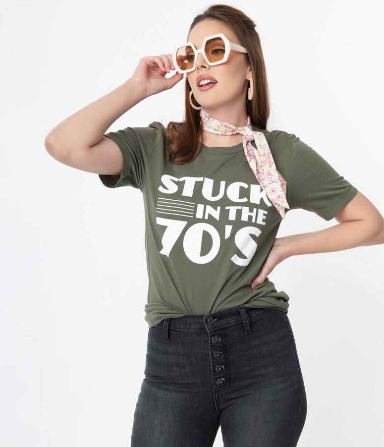 Army Green Stuck In The 70s Graphic Unisex Tee