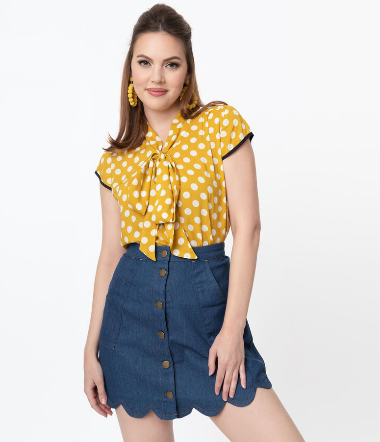 Retro Style Mustard & White Polka Dot Bow Blouse
