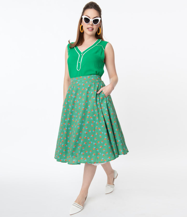Vintage Style Green Dotted & Red Floral Swing Skirt