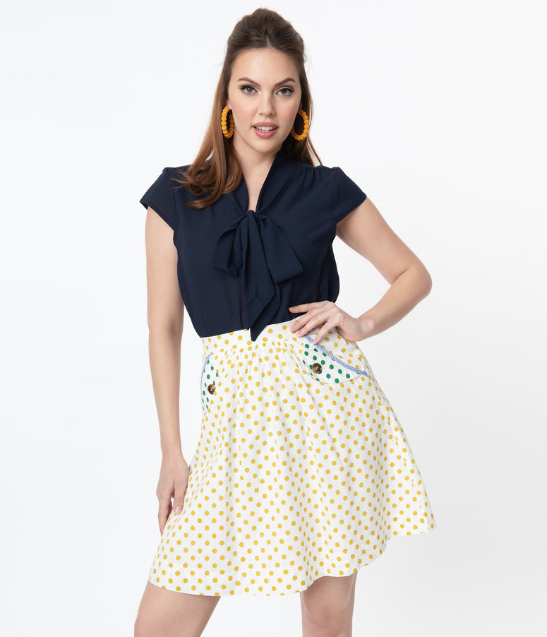 Retro Navy Blue Cap Sleeve Bow Blouse