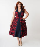 Janie Bryant For Unique Vintage Navy & Red Plaid Halter Margaret Swing Dress