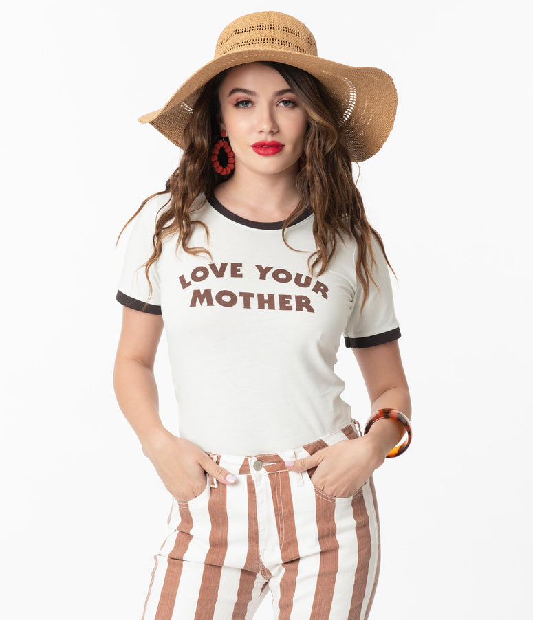 Dusty Sage Love Your Mother Womens Graphic Ringer Tee