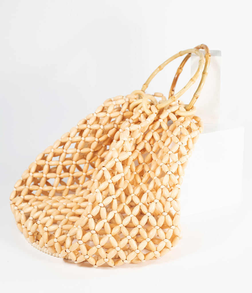 Retro Style Tan Beaded Handbag
