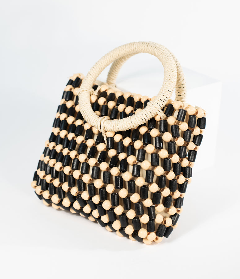 Retro Style Black & Tan Beaded Handbag